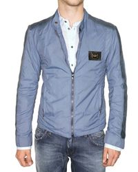 Dolce & Gabbana | Blue Washed Nappa Inserts Nylon Sport Jacket for Men | Lyst