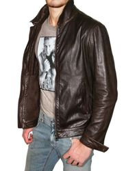 Dolce & Gabbana - Brown Washed Light Nappa Leather Jacket for Men - Lyst