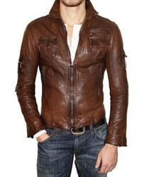 Dolce & Gabbana | Brown Washed Nappa Leather Jacket for Men | Lyst