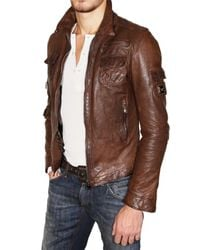 Dolce & Gabbana - Brown Washed Nappa Leather Jacket for Men - Lyst