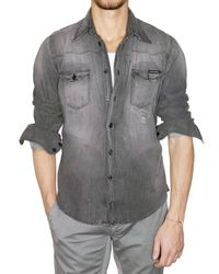 Dolce & Gabbana - Gray Darned and Washed Denim Shirt for Men - Lyst