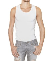 Dolce & Gabbana - White Micro Ribbed Cotton Tank Top for Men - Lyst