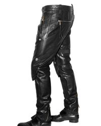 DSquared² - Black Hockey Studded Leather Trousers for Men - Lyst