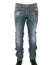 DSquared² - Blue Semi Coated Slim Denim Jeans for Men - Lyst