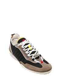 DSquared² - Gray Patent Piping Mesh and Suede Sneakers for Men - Lyst