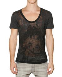 John Galliano | Black Semi Sheer Devore Jersey T-shirt for Men | Lyst