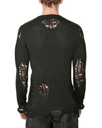 Miharayasuhiro - Black Destroyed Knit Sweater for Men - Lyst