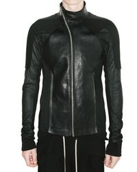 Rick Owens | Black Denim and Blistered Lamb Leather Jacket for Men | Lyst