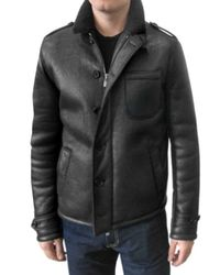 Simon Spurr - Black Calf Shearling Leather Jacket for Men - Lyst