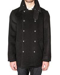 Viktor & Rolf - Black Belted Collar Pea Coat for Men - Lyst