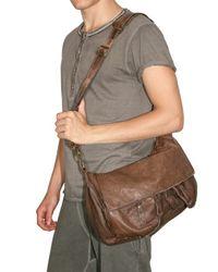 Giorgio Brato - Brown Washed Calfskin Messenger Shoulder Bag for Men - Lyst