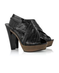 DKNY | Black Laila Ruched Leather Sandals | Lyst