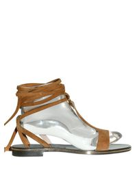 Ferragamo - Brown 10mm Suede Gladiator Sandals - Lyst