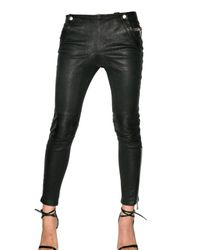 Les Chiffoniers - Black Stretch Leather Leggings - Lyst