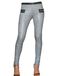 Les Chiffoniers | Gray Stretch Distressed Leather Leggings | Lyst