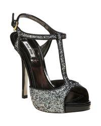 Miu Miu - Metallic Glitter Sandal - Lyst