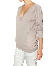 Vanessa Bruno - Gray Embroidered Knit Sweater - Lyst