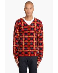 Comme des Garçons | Red Wool Tartan V-neck Sweater for Men | Lyst