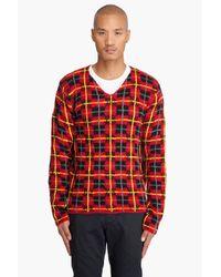 Comme des Garçons - Red Wool Tartan V-neck Sweater for Men - Lyst