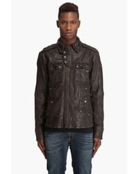 DIESEL - Brown Treated Leather Jacket for Men - Lyst