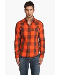 G-Star RAW | Orange Stockton Piping Tetris Shirt for Men | Lyst