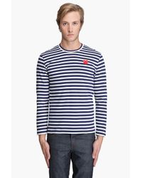 Play Comme des Garçons | Blue Cotton Jersey Border Red Emblem Shirt for Men | Lyst