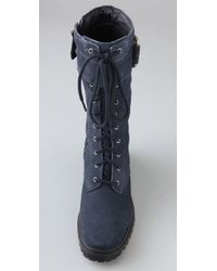 7 For All Mankind | Blue Gingerly Suede Combat Boots | Lyst