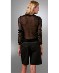 Alexander Wang - Black Mesh Long Sleeve Pullover Top - Lyst