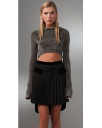 Alexander Wang - Gray Velvet Rib Cropped Turtleneck - Lyst