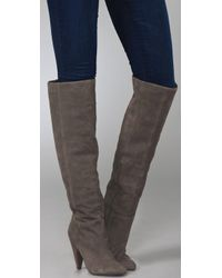 Ash | Gray Intense Suede Over The Knee Boots | Lyst