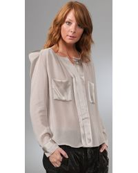 By Malene Birger | Natural Liton Blouse with Shoulder Pads | Lyst