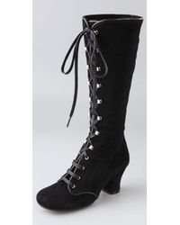 Chie Mihara - Black Quechu Lace Up Suede Boots - Lyst