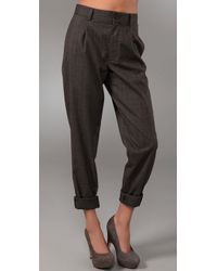 Club Monaco | Brown Kaylyn Pleated Plaid Pants | Lyst
