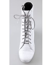 Dolce Vita - White Mariner Lace Up Wedge Booties - Lyst