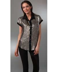 Elizabeth and James | Metallic Sequin Blouse | Lyst