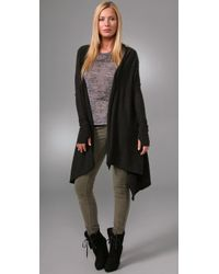 Enza Costa | Gray Cotton Cashmere Shawl Cardigan with Thumbholes | Lyst