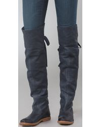 Frye - Blue Navy Leather Celia Over-the-knee Folded Cuff Boots - Lyst