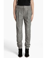Helmut Lang | Gray Cracked Leather Pleated Pants | Lyst