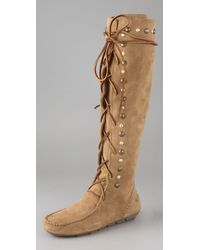House of Harlow 1960 | Brown Suede Lace-up Mocassin Boots | Lyst