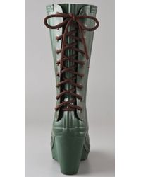 HUNTER | Green Verbier Wedge Boots with Lace Up Detail | Lyst