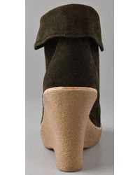 Jeffrey Campbell - Green Sincere Suede Wedge Booties - Lyst