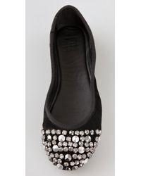 Joe's Jeans - Black Leather Sienna Jeweled Flats - Lyst