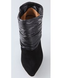 L.A.M.B. - Black Suede Puffy Ruched Leather Ankle Boots - Lyst