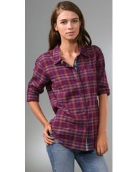 Madewell | Purple Mixed Plaid Boyfriend Shirt | Lyst