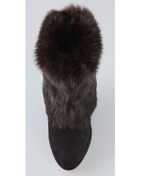 Opening Ceremony - Black Suede Wedge Rabbit Fur Roll Short Boot - Lyst