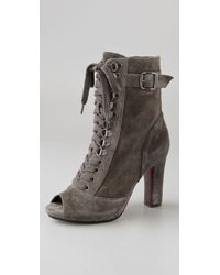 Sam Edelman - Gray Belmont Lace Up Suede Booties - Lyst