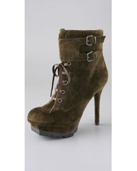 424a380a9 Lyst - Sam Edelman Vancouver Suede Lace Up Booties in Green