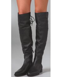 Sergio Rossi - Black Biker Flat Over The Knee Boots - Lyst