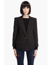 Smythe | Black Sharp Shoulder Cut-off Blazer | Lyst