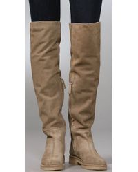 Tapeet - Natural Flat Suede Over The Knee Boots with Faux Fur Lining - Lyst